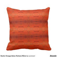 Rustic Orange Aztec Pattern decorative throw pillow. May just be the perfect throw pillow for your orange decor. Buy 1 - 500 bulk throw pillows that are customizable for home, retail, hospitality, promotional or special events.