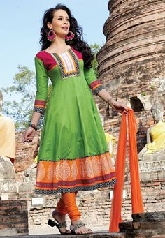 Utsav Fashion : neon-green-cotton-readymade-anarkali-churidar-kameez