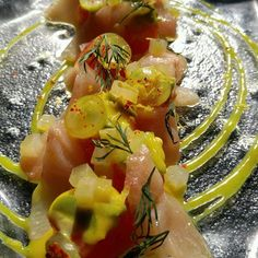 #Hamachi crudo with cured watermelon, #pickled green tomato, dill, smoked aioli, mustard vinaigrette, grapes.