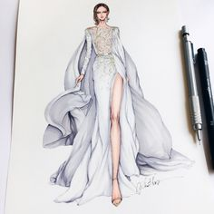 Ideas fashion drawing dresses sketches haute couture for 2019 Moda Fashion, Fashion Art, Trendy Fashion, Fashion Models, Parisian Fashion, Bohemian Fashion, Fashion Quotes, Retro Fashion, Style Fashion