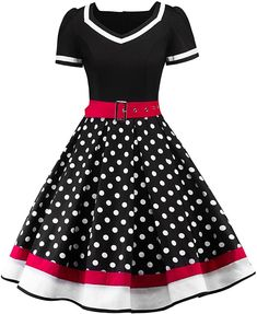 Enjoy exclusive for Babyonline Women's Polka Dots Audrey Hepburn Rockabilly Retro Swing Cocktail online - Lovetopfashion Vintage Outfits, Vintage Dresses, Vintage Fashion, Classic Fashion, Robe Swing, Swing Dress, Vintage Mode, Vintage Ladies, Pin Up Rockabilly