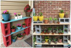 #DIY Concrete Cinder Block Garden Shelf-10 Simple Cinder Block Garden Projects #Gardening