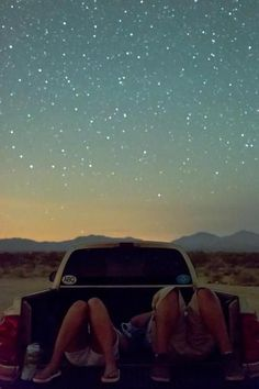 truck bed. stary night. yup.