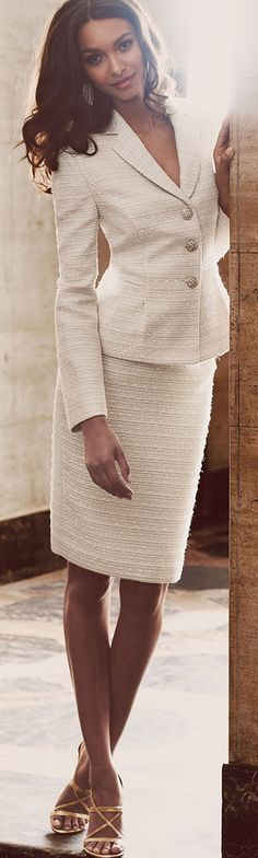 white blazer skirt suit. Office work business @roressclothes closet ideas women fashion outfit clothing style
