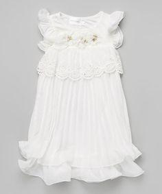 White Floral Lace Rhinestone Angel-Sleeve Dress - Girls