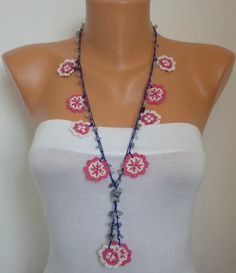 Crocheted Necklace oya flower with  bead  Flower by fatwoman, $24.00