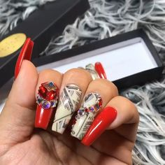 Pin on Luxury Press On Nails Long Red Nails, Blue Gel Nails, Black Coffin Nails, Aycrlic Nails, Glam Nails, Dope Nails, Bling Nails, Stylish Nails, Trendy Nails