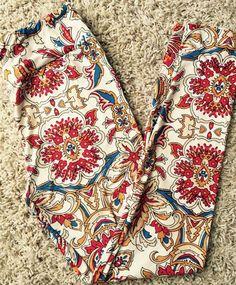 LuLaRoe OS Leggings Cream Floral Print - EUC #LuLaRoe