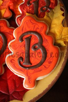 monogrammed fall leaf cookies by nicole at lifesabatch.com