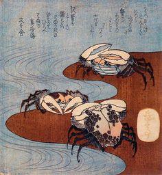 Yashima Gakutei (1786-1868). Three crabs on the shore. Circa 1827. Shikishiban surimono. © Joan B. Mirviss, Ltd