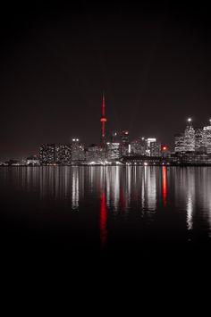 Toronto, Canada- Love this city! Splash Photography, City Photography, Color Splash, Color Pop, Colour, Photowall Ideas, Night City, Black White Red, City Lights