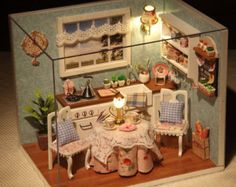 DIY Miniature Provence Dollhouse Miniature Handcraft Kit Birthday Gifts Christmas Gift Kids Women Toy Assembly Dollhouse Kits, DL-018  The Dollhouse is with a COVER and with LED LIGHT&MUSIC!   This is DIY Kit, it comes with a step-by-step illustrated manual.  This is not finished product and everything need to assemble.  (The manual is not in English, but the drawings are very clear enough to show you how to assemble this item)  House size: 12.59*9.44*8.66 inches (32*24*22 CM)  Weight: 2.5kg…