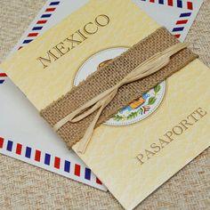 Mexican Crest Passport Wedding Invitation (Riviera Maya, Mexico) - Design Fee on Etsy, $50.00