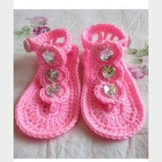 Fashional Diamond Hand-Made Crochet Baby Shoes