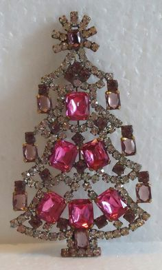 Signed Husar D Large Czech Christmas Tree Brooch Pink Clear