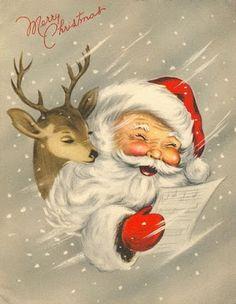 Vintage Christmas- Santa and reindeer Vintage Christmas Images, Old Fashioned Christmas, Christmas Scenes, Christmas Past, Retro Christmas, Vintage Holiday, Christmas Pictures, Christmas Greetings, Christmas Fabric