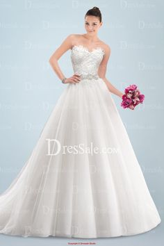 Gorgeous Sweetheart Neckline A-line Wedding Gown with Appliqued Bodice and Beaded Waistline