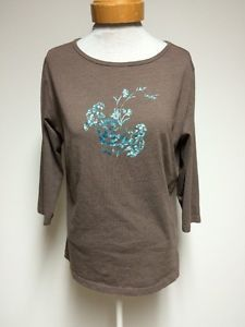 Columbia Womens XL Brown TOP Flowers Blue Crewneck 3 4 Sleeves Extra Large | eBay