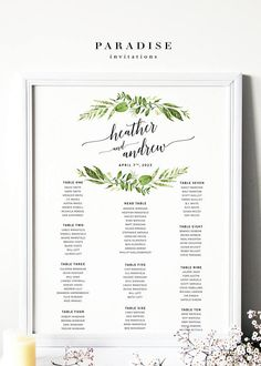 Wedding Table Seating Chart Modern Calligraphy Elegant By