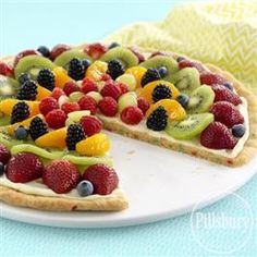 Gluten Free* Funfetti Fruit Pizza from Pillsbury® Baking topped with refreshingly sweet seasonal fruit will be a hit at your next party!