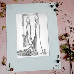"""I would like to thank you so much for this stunning piece that you did of my wedding dress, it honestly was the nicest gift I have EVER received. This made our anniversary even MORE special! Thank you."" This was done within a week of ordering, so if you have a fast approaching delivery date please get in touch. Lead time normally 2-4 weeks www.weddingdressink.com/shop/mirror-view-sketch #WeddingDressInk #GiftGuide #WeddingGiftVoucher #BestWeddingGiftEver First Anniversary, Wedding Anniversary Gifts, Autumn Wedding, Wedding Day, Custom Wedding Dress, Wedding Dresses, Wedding Dress Illustrations, Gift Vouchers, Lead Time"