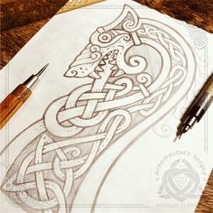 Drakkars Kopf – Wolf (schnelle Bleistiftskizze, Workflow) – # – Wikinger/ Nord-Mythologie – Cats Live On Video Norse Tattoo, Celtic Tattoos, Viking Tattoos, Viking Designs, Celtic Knot Designs, Viking Dragon, Viking Art, Viking Drawings, Art Drawings