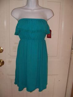 Faded Glory Strapless Fresh Teal Empire Dress with Ruffle Top Size XL NEW #FadedGlory #EmpireWaist #Casual