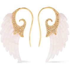 Noor Fares Noor Fares - Wing 18-karat Gold, Agate And Diamond Earrings... ($7,275) ❤ liked on Polyvore featuring jewelry, earrings, noor fares earrings and noor fares