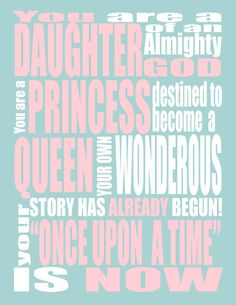 Pink Princess INSPIRATIONAL QUOTE - You are a Princess - Wall Art - LDS Art- Christian Art. cute for a girls room!   for Bre