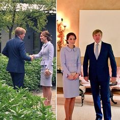 Duchess Kate in Catherine Walker meets His Majesty Willem-Alexander King of The Netherlands pics @KensingtonRoyal #RoyalVisitNL