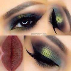 Eye Makeup Looks for Brown Eyes Dark Green Eye Makeup Look + Dark Red Matte LipsDark Green Eye Makeup Look + Dark Red Matte Lips Dark Green Eyes, Dark Red Lips, Blue Eyes, Gorgeous Makeup, Love Makeup, Beauty Makeup, Makeup Ideas, Beautiful Lips, Looks Halloween