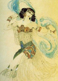 Costume design for Salomé in 'Dance of the Seven Veils' Leon Bakst (Russian, Oil on canvas. Ida Lvovna Rubinstein (Russian, was a wealthy and. Theatre Costumes, Ballet Costumes, Dance Costumes, Ballerina Costume, Russian Ballet, Russian Art, Australian Ballet, Art Deco, Art Nouveau