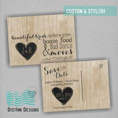 Save the Date Wood grain #heart #wood #rustic Available at www.distinkdesigns.com