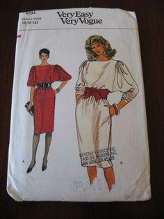 batwing+dress+pattern   Vintage 80s Batwing Sleeve Dress Pattern Vogue 8734 sz 8, 10, 12