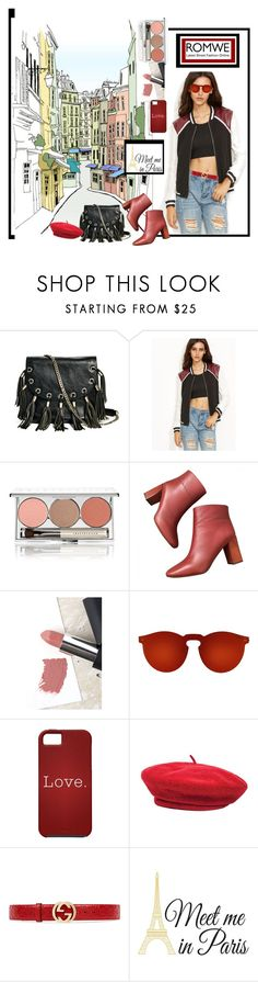 """Romwe In Paris"" by archsan ❤ liked on Polyvore featuring GUESS by Marciano, Chantecaille, Sigma, Illesteva, Brixton, Gucci and Wall Pops!"