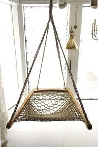 Image of Oak Macrame Woven Hanging Hammock Chair