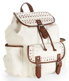Metal-Studded Canvas Backpack from Aeropostale Backpack Straps, Backpack Purse, Pouch Bag, Leather Backpack, Fashion Backpack, Cute Backpacks, Girl Backpacks, College Backpacks, White Backpack