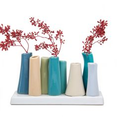 AmazonSmile : Chive - Pooley 2, Unique Ceramic Flower Vase, Low Rectangular Modern Decorative Vase for Home Decor Living Room Office and Centerpieces, Steel Blue Teal Green : Garden & Outdoor