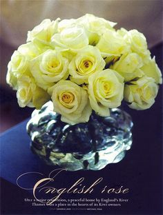 ARRANGEMENT: | Buttercream Yellow Roses (shown- english roses) + in Round Vase (optional- find one with a bubble texture, as shown).