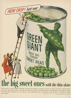 1953 Green Giant Sweet Peas Advertisement Canned Food Vegetables Vintage Ad Art Print Retro Kitchen Restaurant Market Wall Decor Print Vintage Advertisements, Vintage Ads, Vintage Prints, Retro Ads, Vintage Food, Restaurant Marketing, Historical Artifacts, Ad Art, Vintage Recipes