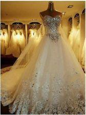 2013 Luxurious Cathedral White Ivory Wedding dress Custom Size 4 6 8 10 12 14 16