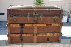 Large Antique Steamer Trunk