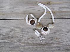 White beads Crochet rope necklace pendant agate by RasaVilJewelry, €160.00