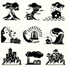 Illustration about Set silhouette icons of natural disaster. Illustration of cracked, flooding, calls - 15587583 Preschool Weather, Weather Activities, Environmental Signs, First Grade Weather, Badge Design, Icon Design, Stick Figures, Pictogram, Natural Disasters