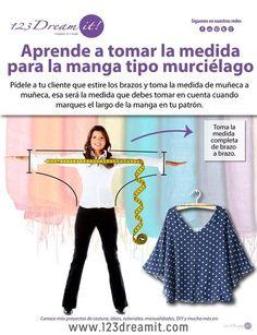Para que tus blusas con manga tipo murciélago queden perfectas, aquí te decimos como debes tomar la medida, solo da click en la imagen para conocer este práctico consejo.