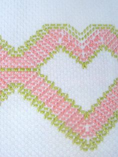 Vintage Swedish Embroidery Tea or Hand  Huck Towel White Pink Lime Green1920's Heart Design