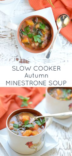 This nourishing Slow Cooker Autumn Minestrone Soup is a satisfying twist on a classic. Perfectly satisfying for lunch or dinner, it freezes well and is naturally vegetarian, dairy-free and gluten-free.
