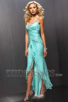 Where would you want to wear this beautiful blue and silver A-Line Spaghetti Straps V-neck Chiffon Cocktail Dress - IZIDRESSES.COM