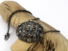 Upcycled Vintage Rhinestone Button Necklace // by RefinedRetro, $21.00