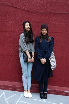 beanie + loose grey top + light blue skinny jeans + white sneakers - beanie + coat + jeans + socks + Oxford shoes : fall outfit, Asian